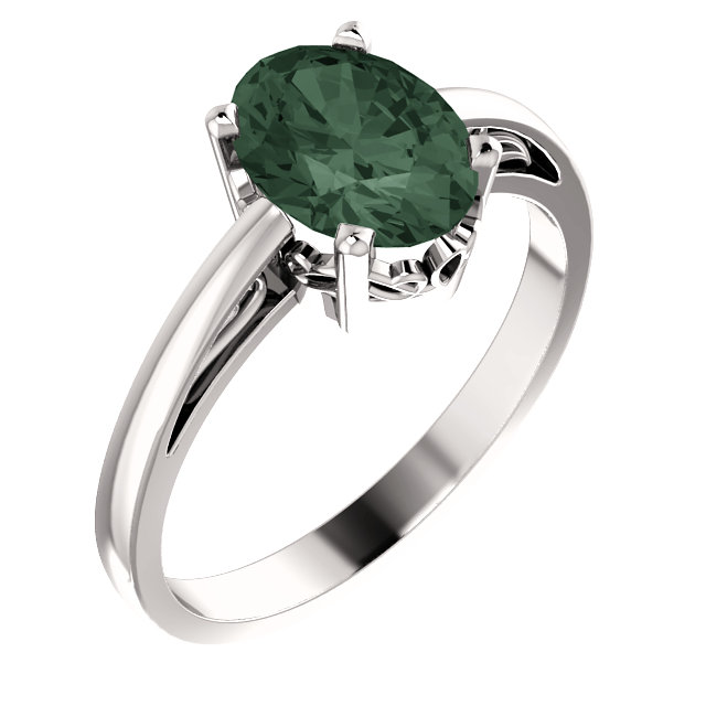 14K White Chatham® Created Alexandrite Ring