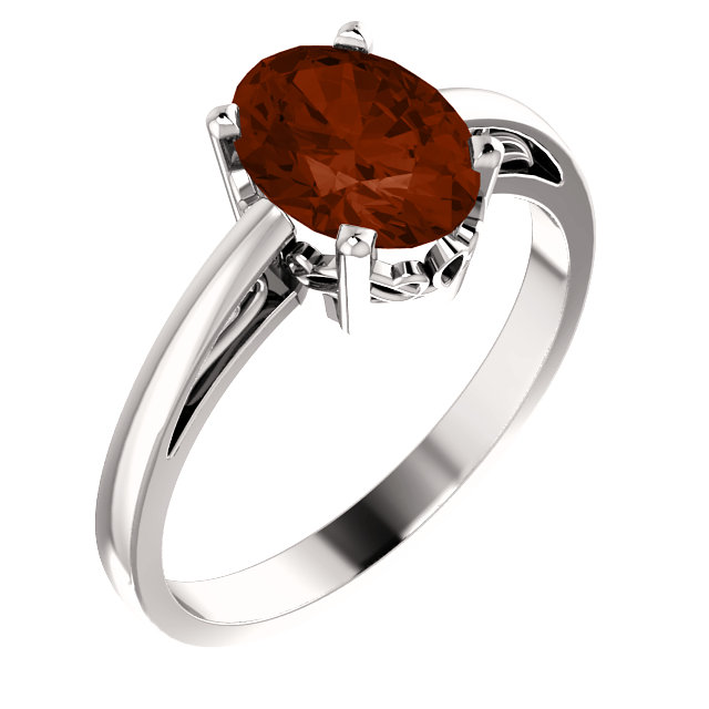 14K White Mozambique Garnet Ring