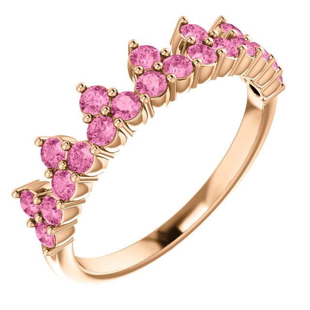 14K Rose Pink Sapphire Crown Ring