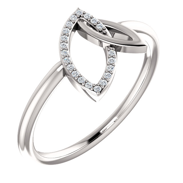 14K White .05 CTW Diamond Double Leaf Ring