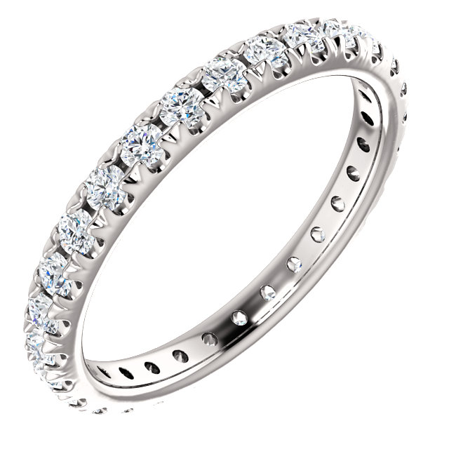 14K White 3/4 CTW Diamond French-Set Eternity Band