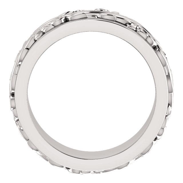 14K White 7 mm Scroll Band   Size 5