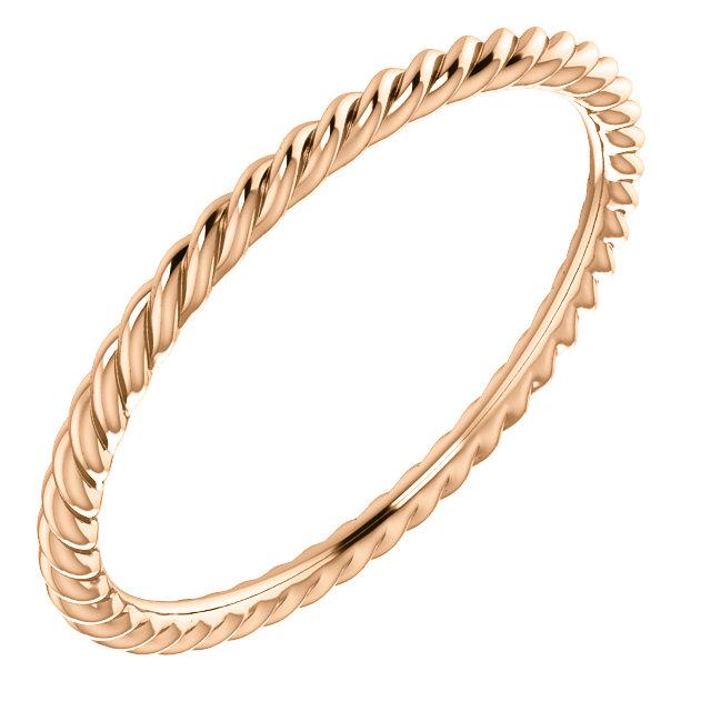 14K Rose Skinny Rope Band Size 7.5