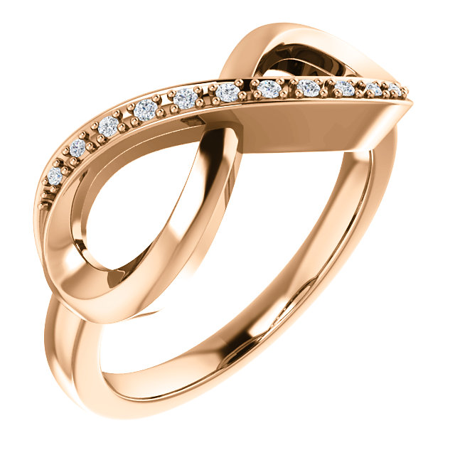 14K Rose .05 CTW Diamond Infinity-Inspired Ring