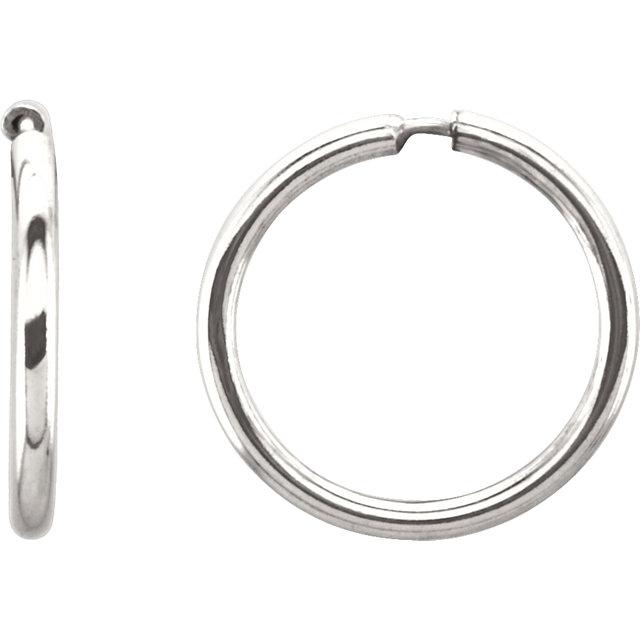 Sterling Silver 13 mm Endless Hoop Tube Earrings