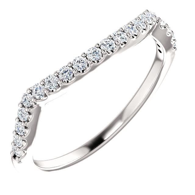 14K White 1/4 CTW Diamond Band for 5.8 mm Round Ring