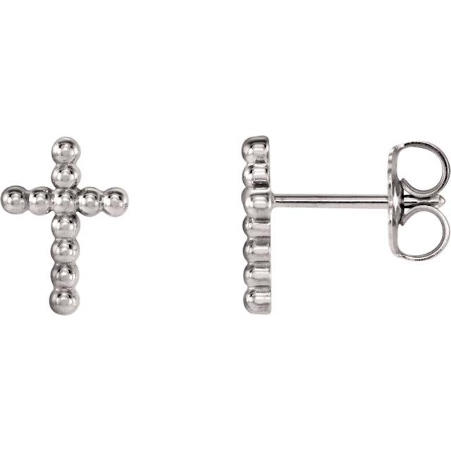 14K White Beaded Cross Earrings