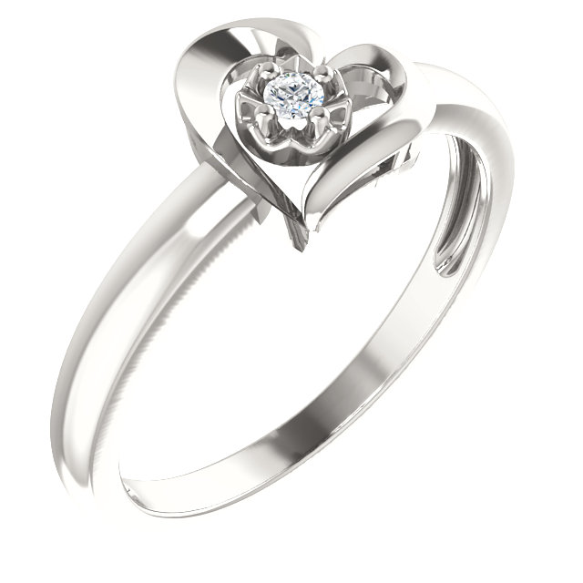 Sterling Silver 2 mm Round Cubic Zirconia Heart Ring Size 6