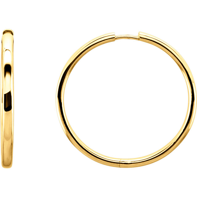14K Yellow 34.2 mm Hinged Hoop Earrings
