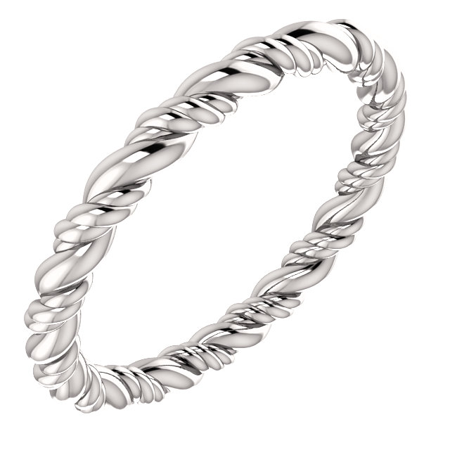 14K White Rope Eternity Band Size 4