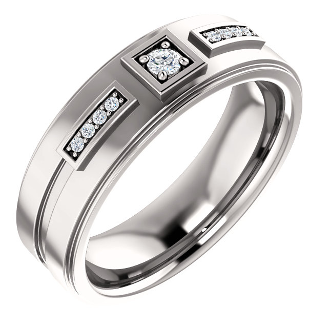 14K White 1/10 CTW Diamond Men-s Ring