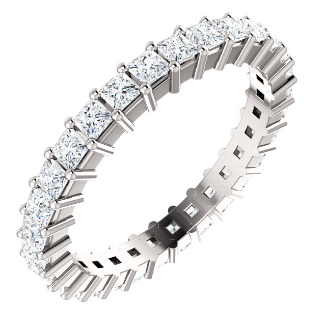 14K White 1 1/2 CTW Diamond Square Eternity Band Size 7
