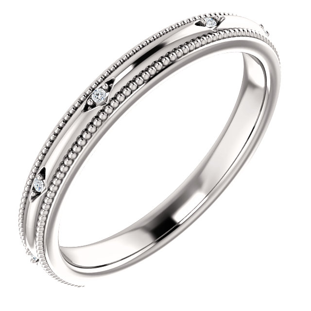 14K White .02 CTW Diamond Matching Band
