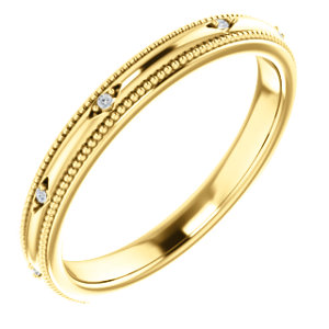14K Yellow .02 CTW Diamond Matching Band
