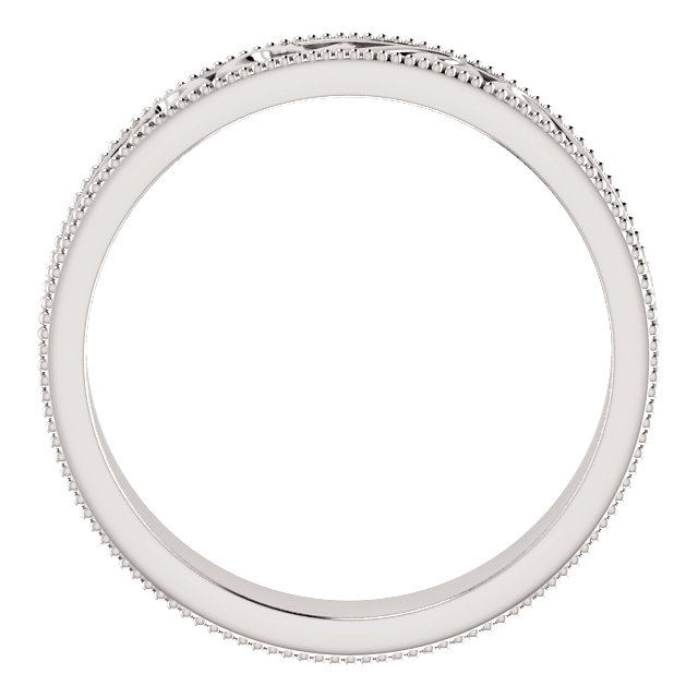 Platinum 5 mm Scroll Band with Milgrain  Size 10