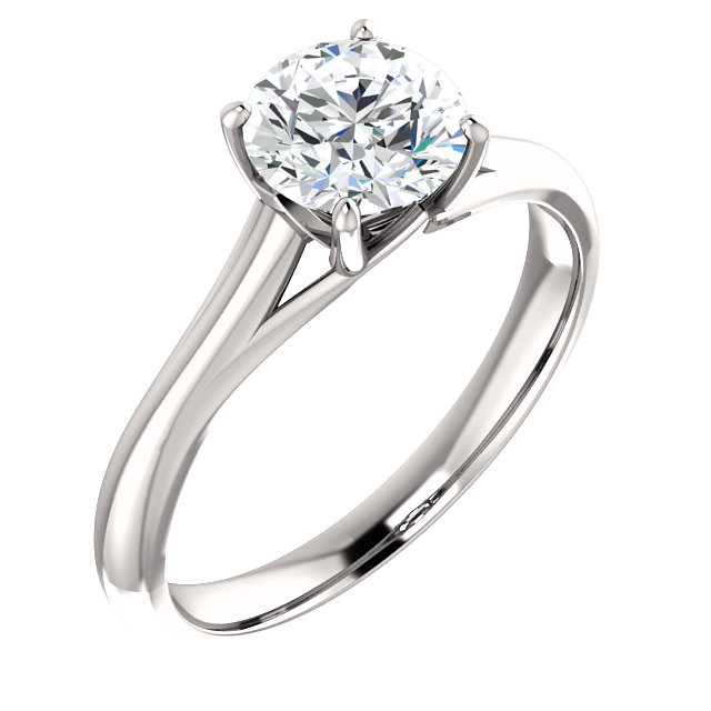 14K White 6.5mm Round Forever Brilliant® Moissanite Solitaire Engagement Ring