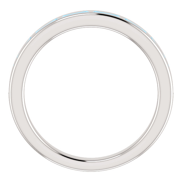 14K White Aquamarine Ring