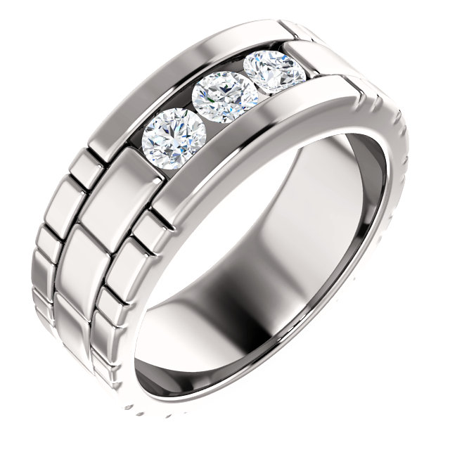 14K White 5/8 CTW Diamond Mens Ring