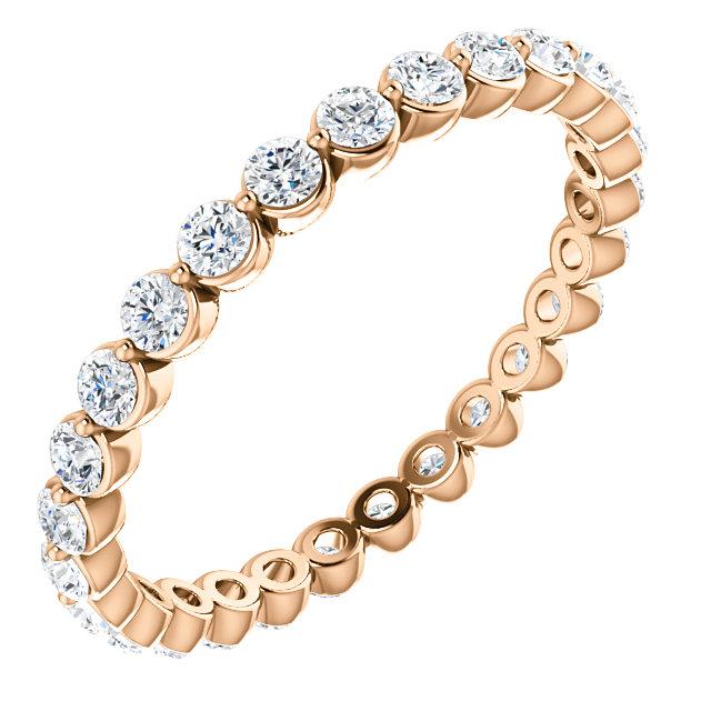 14K Rose 3/4 CTW Diamond Eternity Band Size 6.5