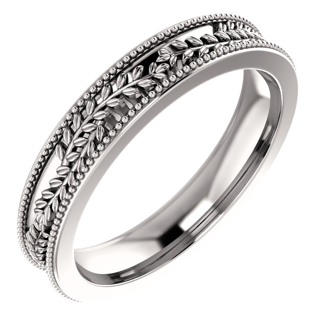 14K White 3.65 mm Floral-Inspired Band Size 5.5