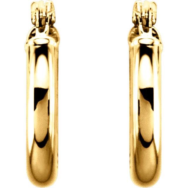 14K Yellow 13 mm Tube Hoop Earrings