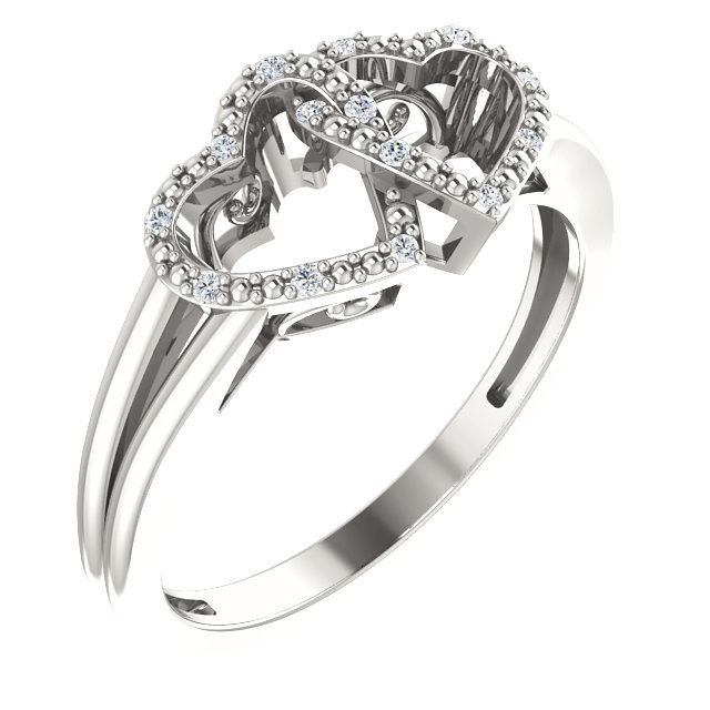 Sterling Silver .05 CTW Diamond Double Heart Design Ring Size 5