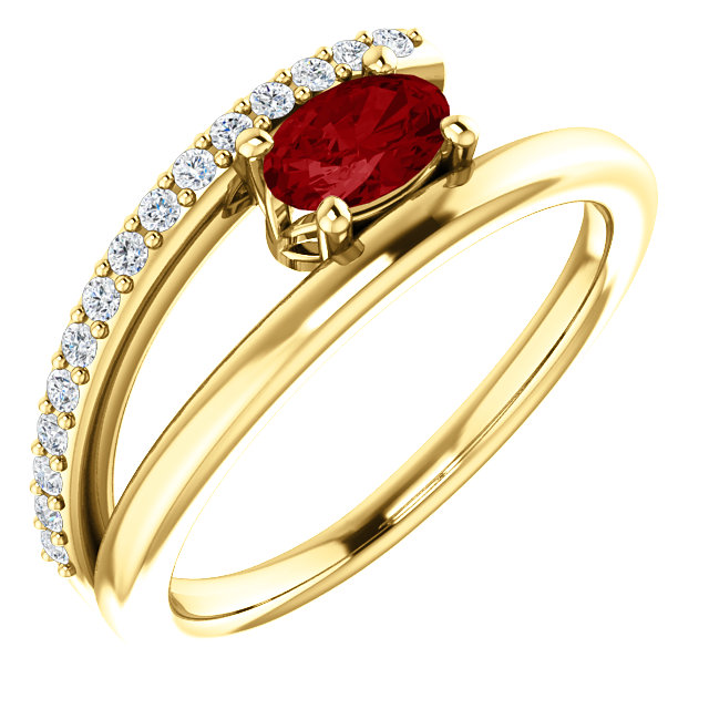 14K Yellow Chatham® Created Ruby & 1/8 CTW Diamond Ring