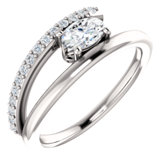 Charles & Colvard Moissanite® & Diamond Accented Bypass Ring
