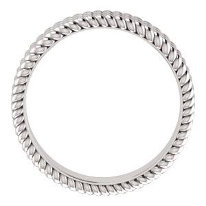14K White Layered Stacked Rope Band Size 4