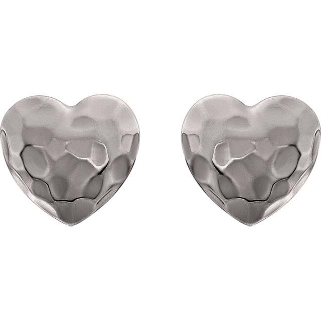 14K White Hammered Heart Earrings