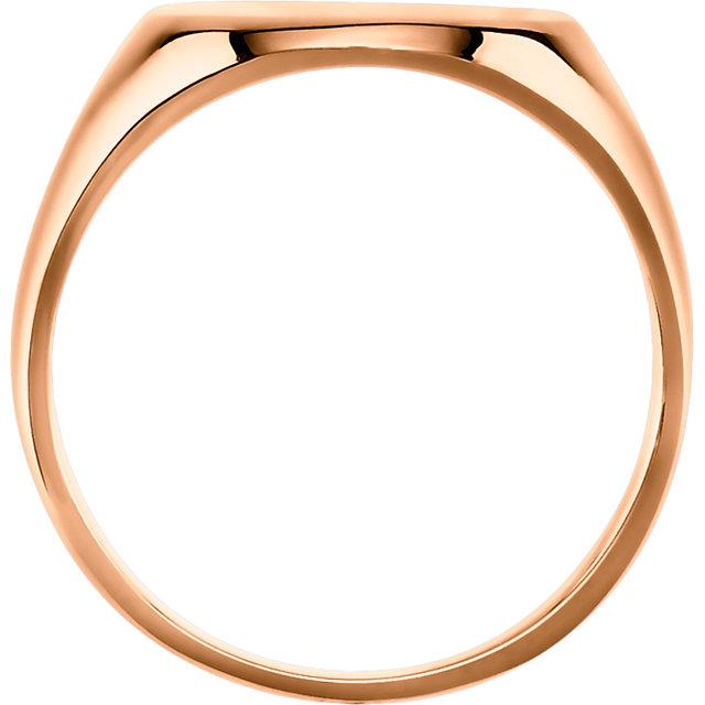 14K Rose 11x9 mm Oval Signet Ring