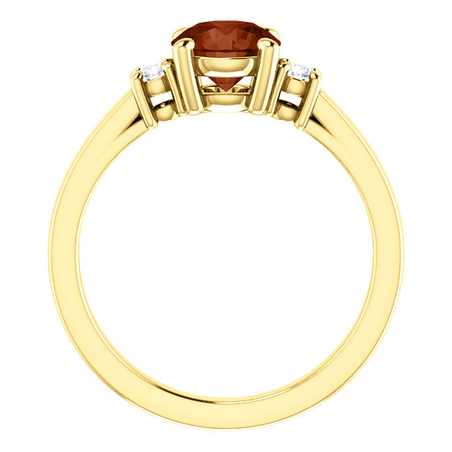 14K Yellow 6.5 mm Round Mozambique Garnet & 1/6 CTW Diamond Ring