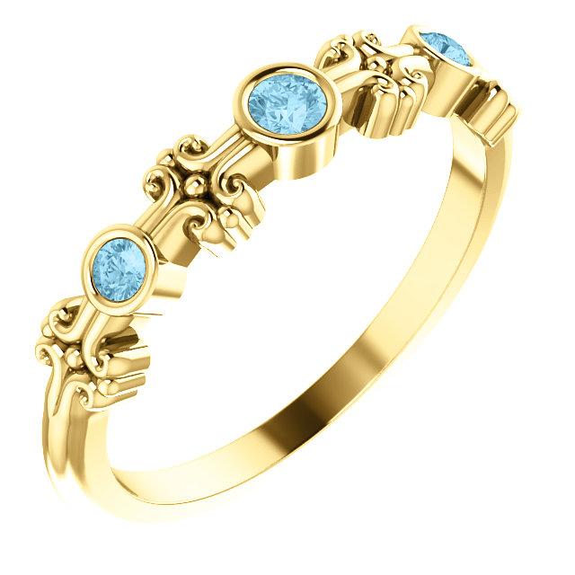 14K Yellow Aquamarine Bezel-Set Ring