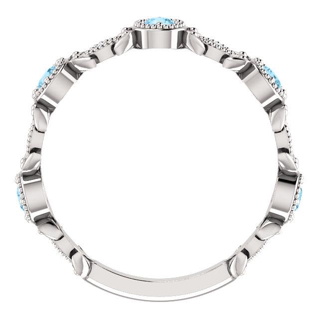 14K White Aquamarine & .03 CTW Diamond Leaf Ring