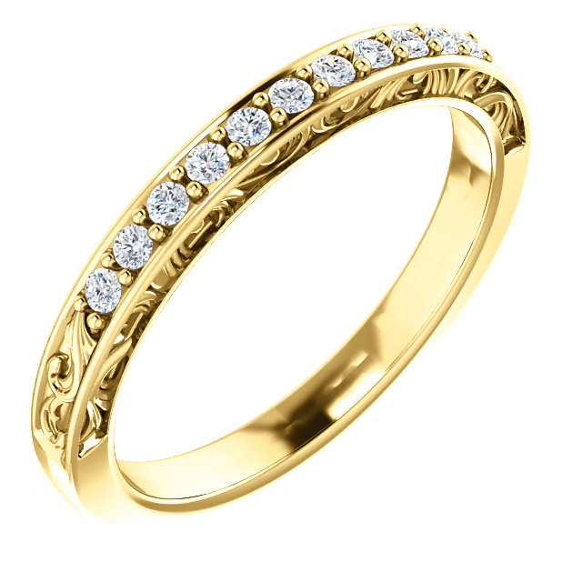 14K Yellow 1/6 CTW Diamond Matching Band