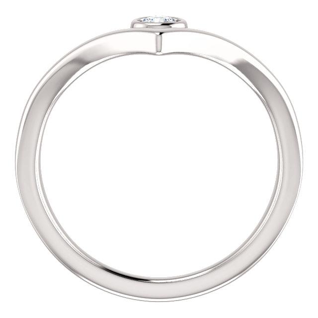 14K White 1/10 CTW Diamond Solitaire Bezel-Set
