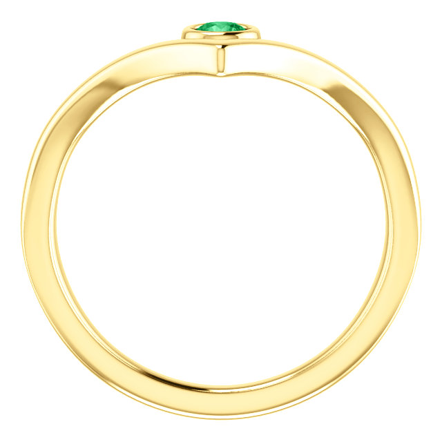 14K Yellow Chatham® Created Emerald Solitaire Bezel-Set