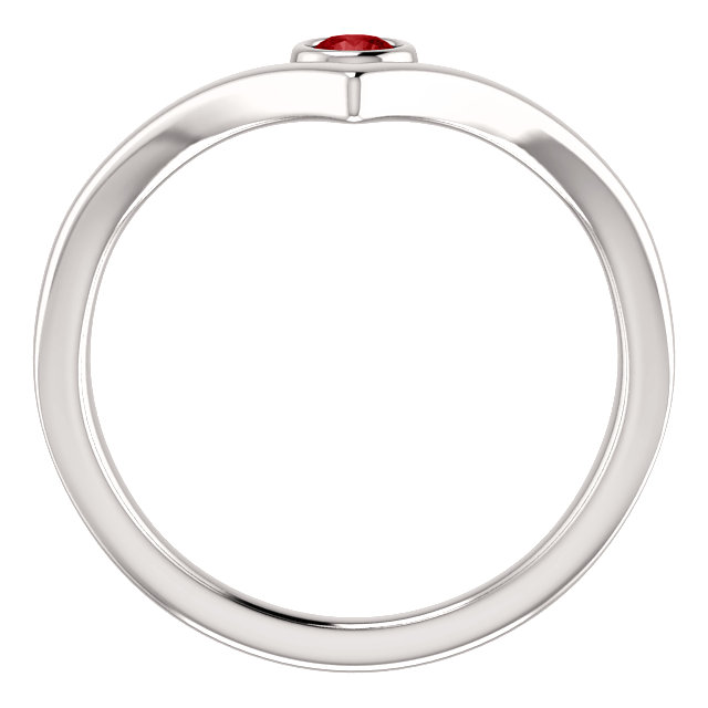 14K White Chatham® Ruby Solitaire Bezel-Set