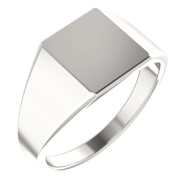 Sterling Silver 11x10 mm Rectangle Signet Ring