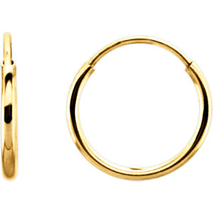 14K Yellow 10mm Endless Hoop Earrings