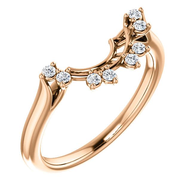 14K Rose 1/8 CTW Diamond Matching Band