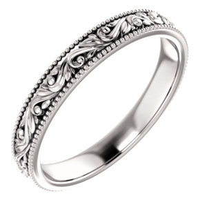 14K White Design-Engraved Wedding Band Size 7