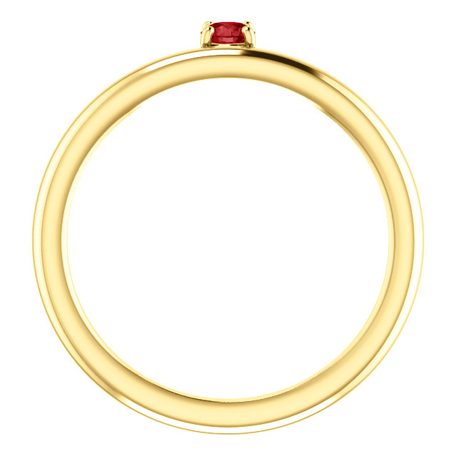 14K Yellow Chatham® Created Ruby Ring