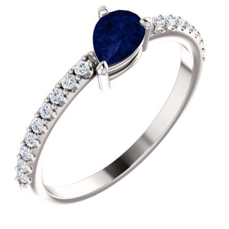 14K Gold Blue Sapphire & 1/6 CTW Diamond Ring