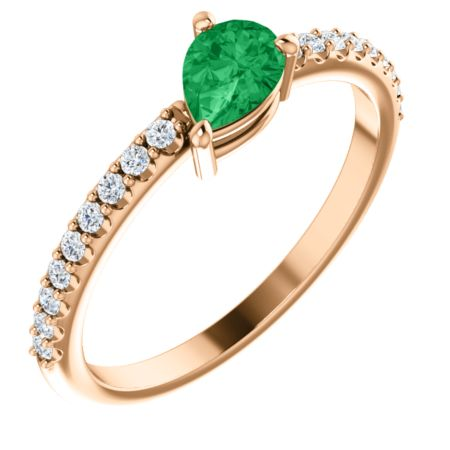 14K Gold Emerald & 1/6 CTW Diamond Ring  also in Platinum