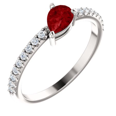 14K Gold Ruby & 1/6 CTW Diamond Ring. Also available in other colors and platinum