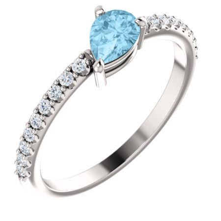 14K Gold Aquamarine & 1/6 CTW Diamond Ring  also in Platinum