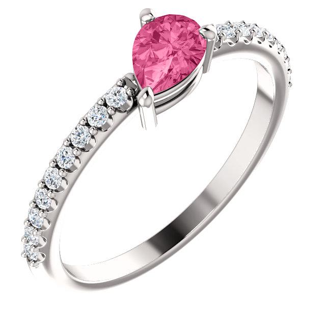 14K White Pink Tourmaline & 1/6 CTW Diamond Ring