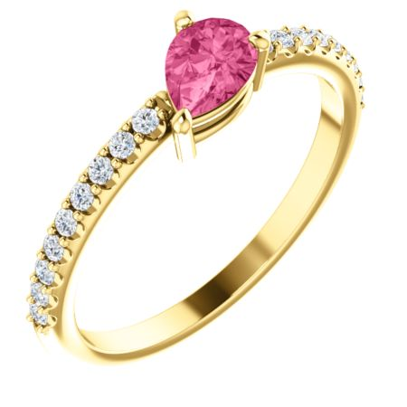 14K Gold Pink Tourmaline & 1/6 CTW Diamond Ring
