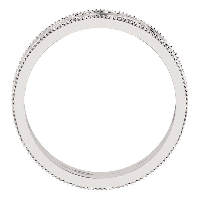 14K White 6 mm Sculptural-Inspired Band with Milgrain Size 10